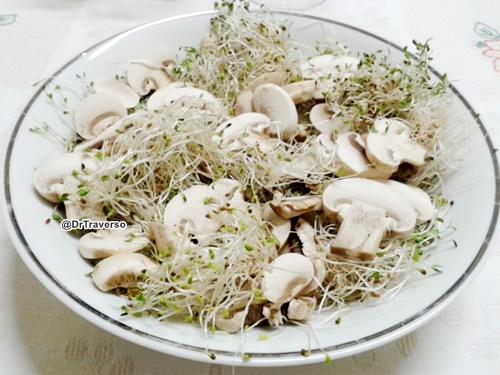 Germogli di Alfa Alfa e funghi Champignon @DrTraverso